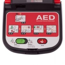 The semi-automatic defibrillator has easy to follow images and audible prompts