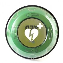 The clear vision panel helps the defibrillator to be seen at all times