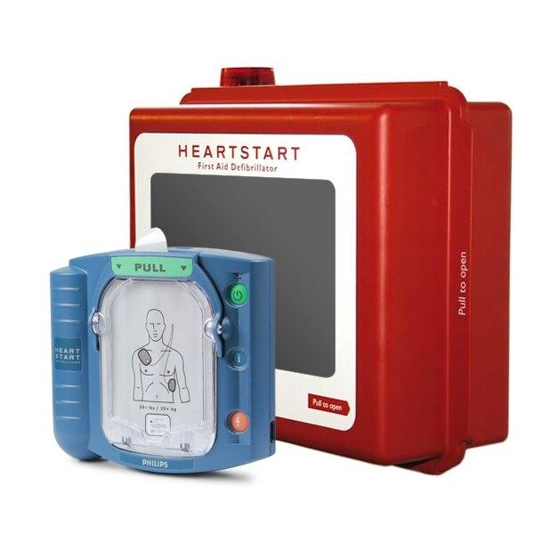 Philips HeartStart HS1 Defibrillator Unit and Indoor Wall Cabinet