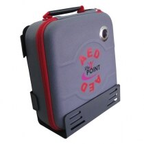 The bracket is designed to hold the Life Point Pro defib when stored in the rigid carry case