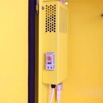 Defibrillator cabinet heating system
