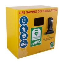 Clear viewing window to easily check the status of the defibrillator without opening the cabinet