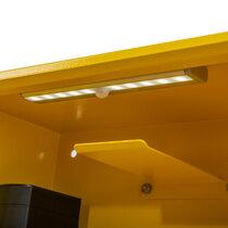 Detachable internal LED light activates via motion sensor