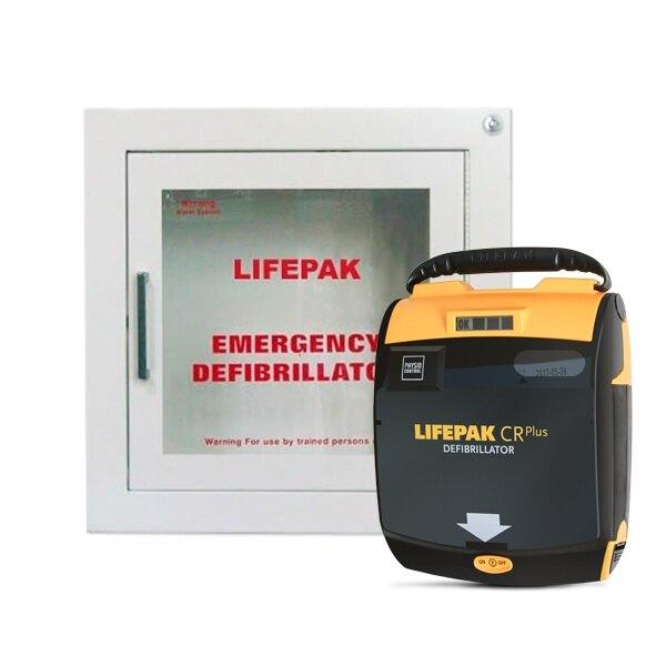 Physio-Control Lifepak CR Plus Defibrillator Unit and Indoor Wall Cabinet