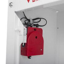 Battery powered alarm sounds when the door is opened
