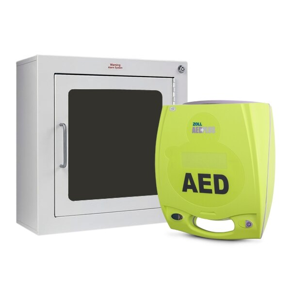 Zoll AED Plus Defibrillator Unit and Zoll AED Plus Wall Mount Cabinet