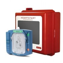 Image of the Philips HeartStart HS1 Defibrillator Unit and Indoor Wall Cabinet