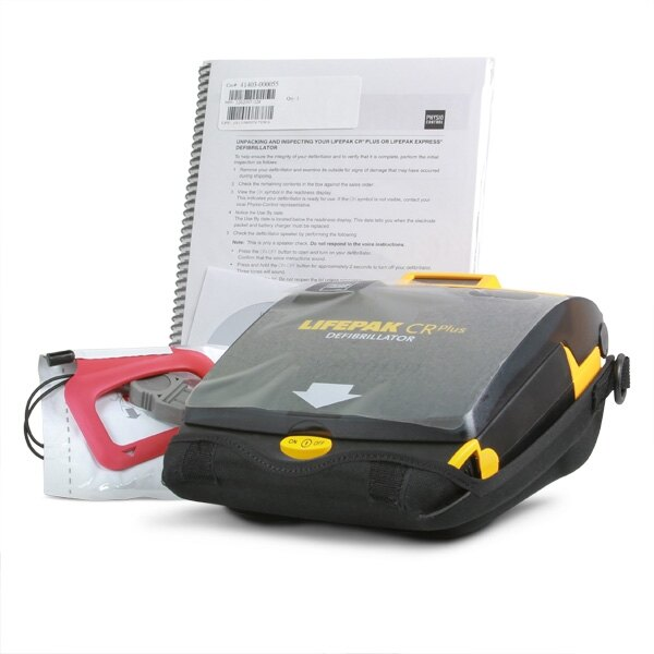 The defibrillator is supplied with 2 pairs of adult QUICK-PAK pads