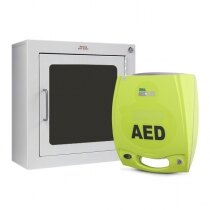Image of the Zoll AED Plus Defibrillator Unit and Zoll AED Plus Wall Mount Cabinet