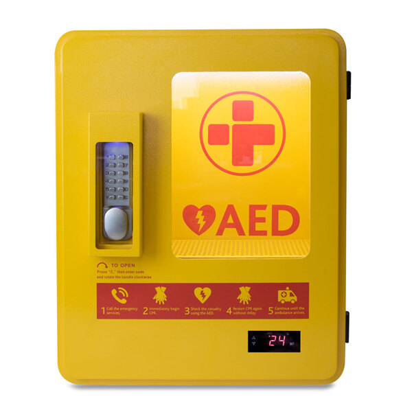 Image of the Mediana HeartOn A15 Defibrillator Outdoor Heated Cabinet with Keypad Lock & Alarm