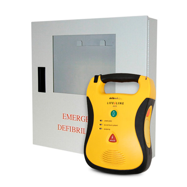 Image of the Defibtech Lifeline AED Defibrillator Unit with Indoor Wall Cabinet