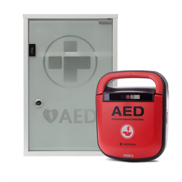 Image of the Mediana HeartOn A15 Defibrillator with Indoor Wall Cabinet