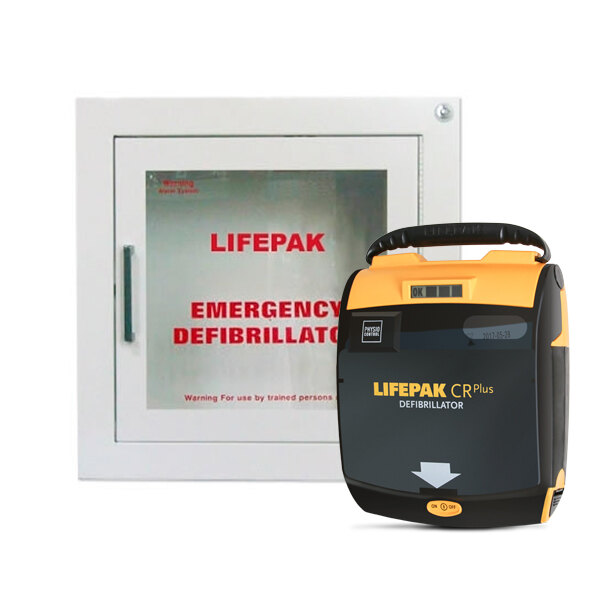 Image of the Physio-Control Lifepak CR Plus Defibrillator Unit and Indoor Wall Cabinet